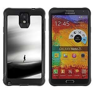 LASTONE PHONE CASE / Suave Silicona Caso Carcasa de Caucho Funda para Samsung Note 3 / Sad Dune Desert Man Wind Art Black