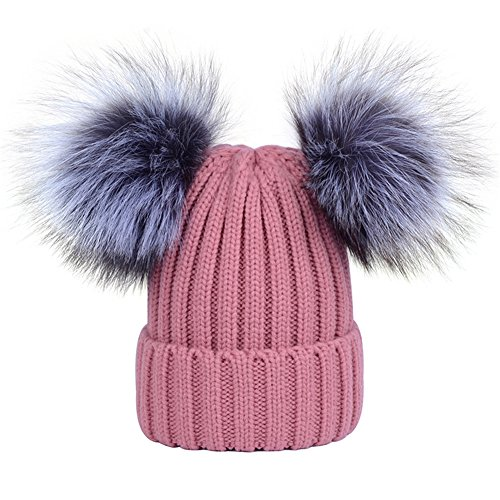 DELORESDKX Women's Winter Knit Hats Cap Beanie with Double Real Silver Fox Fur Pom Pom Warm Ski Snowboard Cap (Pink) Snowboard Ski Hat