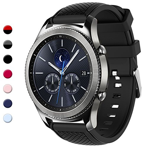 Gear S3 Bands, 22mm Silicone Sport Wristbands Watch Strap Quick Release Replacement Bracelet with Metal Clasp for Samsung Gear S3 Frontier/S3 Classic Smart Watch