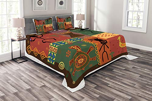 (Lunarable Ethnic Coverlet Set Queen Size, Funky Tribal Pattern Depicting African Style Dance Moves Instruments Spiritual Art, Decorative Quilted 3 Piece Bedspread Set with 2 Pillow Shams, Multicolor)