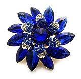 Teri's Boutique Marquise Stone Flower Rhinestone Fashion Accessory Stretch Adjustable Women Rings (Blue)