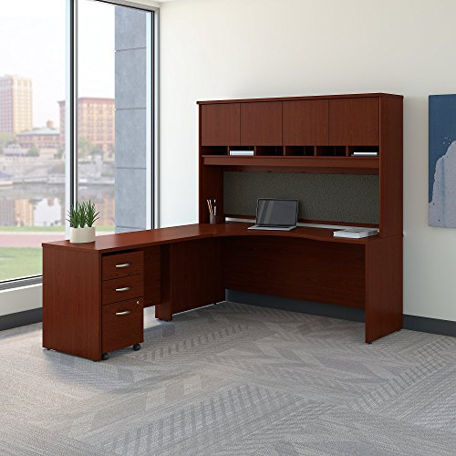 (Bush Business Furniture Series C 72W Left Handed Corner Desk with Hutch and Mobile File Cabinet in)