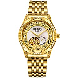 BINLUN Men's Automatic Wrist Watch 18K Gold Plated Water Resistance Tourbillon Mechanical Watches