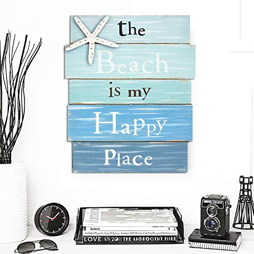 12' Sign Beach Decor Blue (Tangjie Starfish The Beach is My Happy Place Plaque White and Blue Gradient Board Home Bedroom Decoration Signs Wall Painting 12''x 9''x 3''PVC)