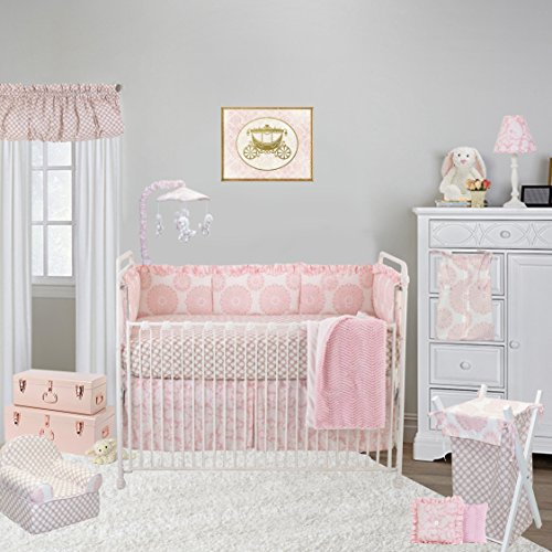 Cotton Tale Designs Sweet & Simple Pink 8 Piece Nursery Crib Bedding Set - 100% Cotton Pink White Floral Medallion, Garden Lattice with Tan - Baby Shower Gifts for ()