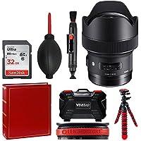 Sigma 14mm f/1.8 DG HSM Art Lens for Nikon F + 32GB Memory Card + Photo Album + Tripod + Memory Card Case + Top Value Accessory Bundle!