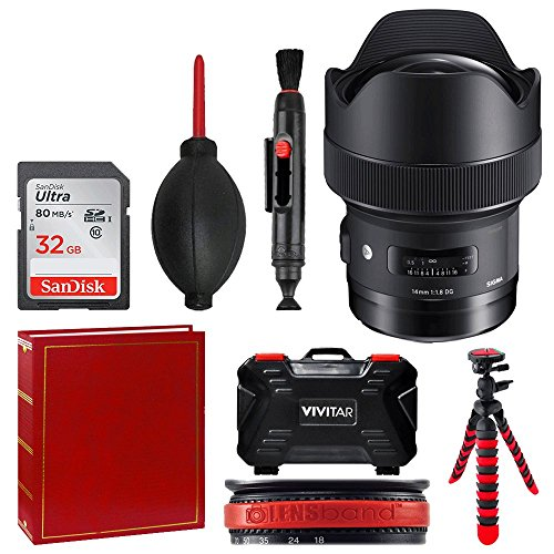 Sigma 14mm f/1.8 DG HSM Art Lens for Canon EF + 32GB Memory Card + Photo Album + Tripod + Memory Card Case + Top Value Accessory Bundle! by PHOTO4LESS