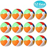 """Lumiparty Beach Balls [12 Pack], Inflatable Beach Balls Bulk, Pool Beach Balls Party Favors, 8"""" Beach Floating Toys for Kids"""