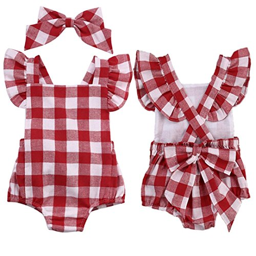 Clearance Sale Infant Baby Girls Cute Plaid Bowknot Ruffles Romper Bodysuit Headband Clothes Set (Red, 12-18M)