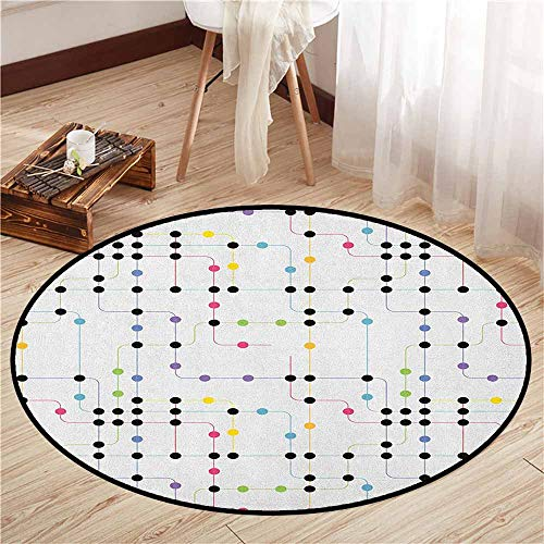 Living Room Round Rugs,Colorful,Metro Scheme with Vivid Colored Intricate Lines and Dots Urban Life Transportation,Sofa Coffee Table Mat,3'3