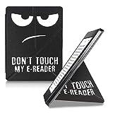 kwmobile Funda Compatible con Kobo Aura H2O Edition 2 - Carcasa magnética de Origami para e-Book - Don't Touch my E-Reader Blanco/Negro