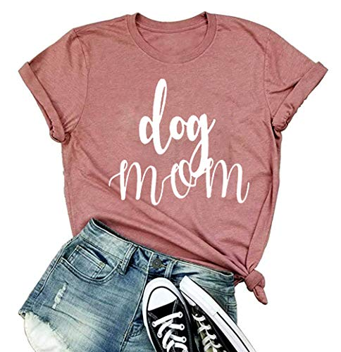 Mama Shirts Womens Funny Letter Print Cute Heart Graphic Tee Casual Short Sleeve Summer Tops for Mom Gift (Pink, S)