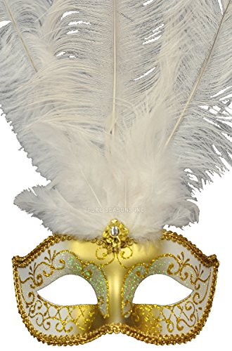 Pure Seasons Winter Wonderland Venetian Mask (White/Gold)-Standard