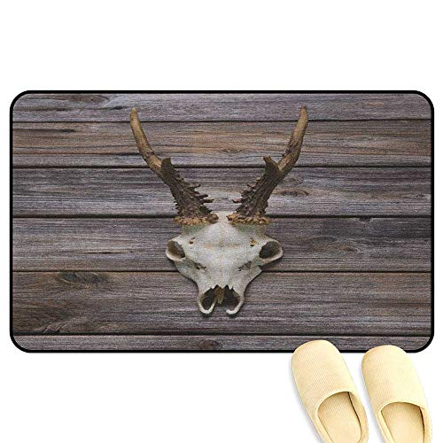 homecoco Antlers Office Comfort Standing Mat Rustic Antler on Wooden Wall Wintertime Mountain Hut Country Style Rustic Design Brown Beige Rubber Front Entrance Outside Doormat W47 x L59 ()