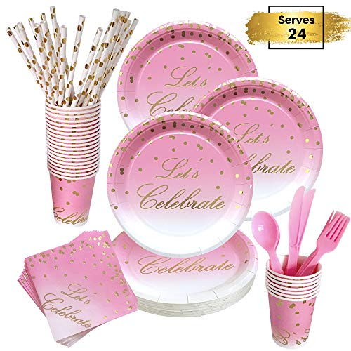 168 Piece Pink and Gold Party Supplies | Compostable Dinnerware Set Services 24 | Includes Plastic Knive Spoons Forks Paper Plates Napkins Cups Straws | Birthday Bridal Baby Shower Bachelorette Girl ()