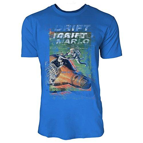 SINUS ART® Drift Herren T-Shirts stilvolles royal blaues Fun Shirt mit tollen Aufdruck