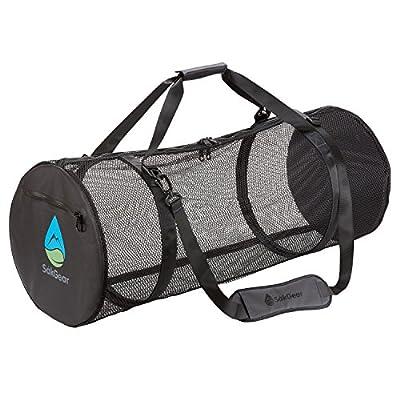 SCUBASåk | Premium Collapsible Mesh Duffle Bag for SCUBA and Dive Equipment | Features Exterior Waterproof Pocket & Adjustable Shoulder Strap | by SÅK Gear