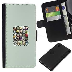 Sony Xperia Z1 L39 - Dibujo PU billetera de cuero Funda Case Caso de la piel de la bolsa protectora Para (Cute Wizards)