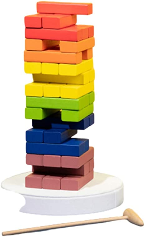 TISESIT INDOOR Tablero De Apilamiento De Madera,Jenga Colores Timber Tower Tumbling Blocks Juego Jenga Juego De Mesa Niños Y Adultos, Diversión Educación Juguetes Color Match Playset,Van Gogh Color: Amazon.es: Deportes y aire