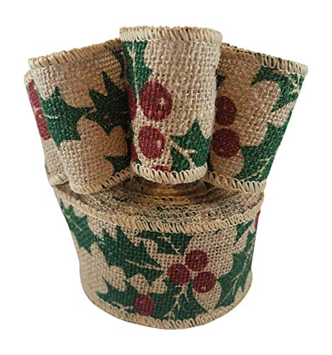 Wired Edge Burlap Ribbon with Christmas Holiday Holly Berry Print - 2.5 Inches Wide, 10 Yards -