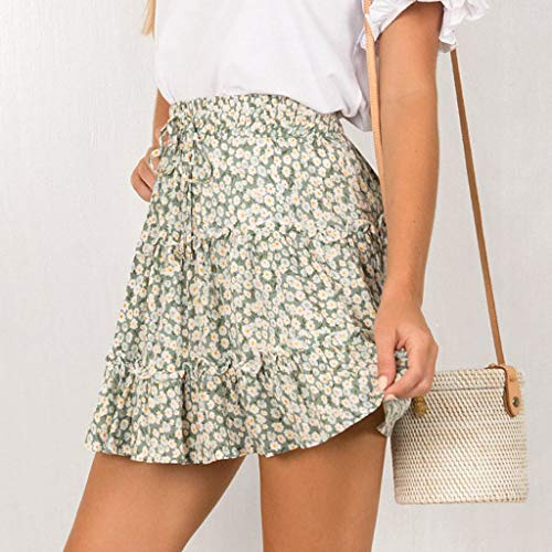 TWGONE Ruffled Mini Skirt For Women Summer Bohe High Waist Floral Print Beach Short Skirt (Medium,Green) by TWGONE (Image #1)