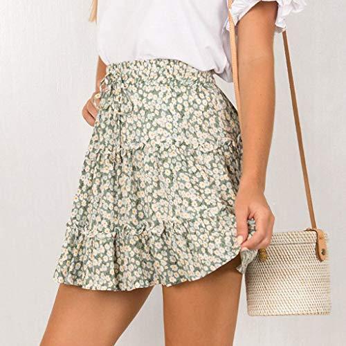 TWGONE Ruffled Mini Skirt For Women Summer Bohe High Waist Floral Print Beach Short Skirt (X-Large,Green) by TWGONE (Image #1)