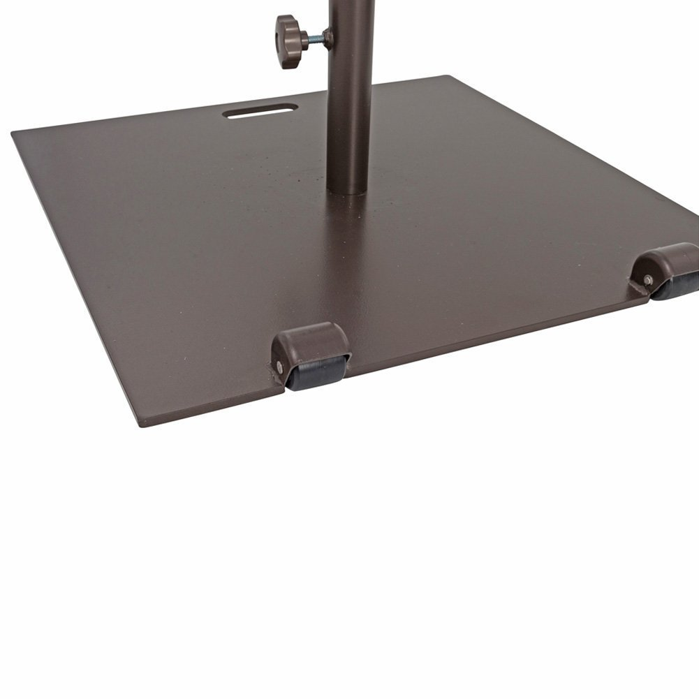 Abba Patio 53 lb. Square Steel Market Patio Umbrella Base Stand with Wheel and 2 Separate Poles for 1-1/2'' and 1-7/8'' Diameter Umbrella, 24''L x 24''W, Brown by Abba Patio (Image #4)