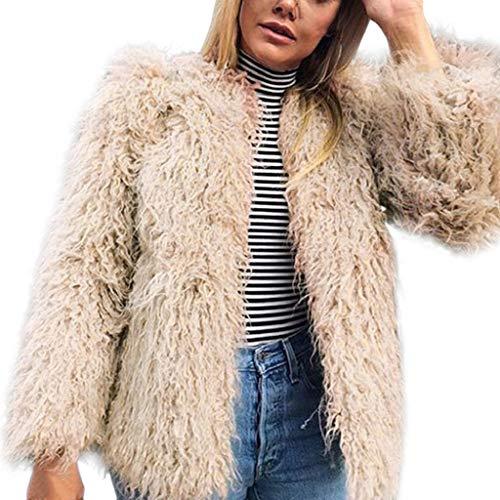 Creazrise Women's Solid Color Shaggy Faux Fur Coat Solid Color Long Sleeve Short Jacket (Khaki,XXXL) ()