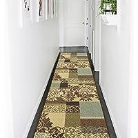 Ottomanson Ottohome Collection Contemporary Damask Design Non-Skid Rubber Backing Hallway Runner Rug, 27 X 910, Brown