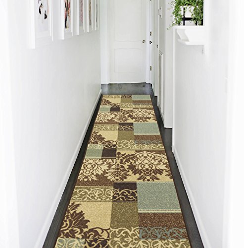 - Ottomanson Ottohome Collection Contemporary Damask Design Non-Skid Rubber Backing Hallway Runner Rug, 2'7