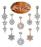 FIBO STEEL 8 Pcs Dangle Belly Button Rings Women Girls Navel Barbell Body Jewelry Piercing 14G
