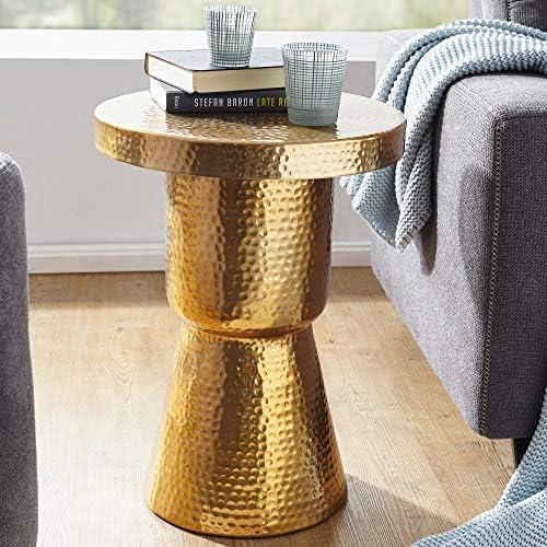 Mesa auxiliar de diseño DELLA 43x59x43 cm aluminio dorado. Mesa ...