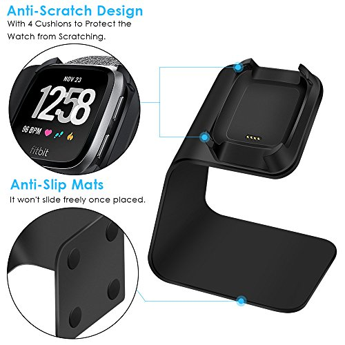 CAVN Compatible Fitbit Versa Charger Dock Stand Cable, Premium Aluminum Charging Cable Cord Station Cradle Base Attached 4.2ft USB Cable Accessories Compatible Fitbit Versa Smartwatch, Black by CAVN (Image #3)