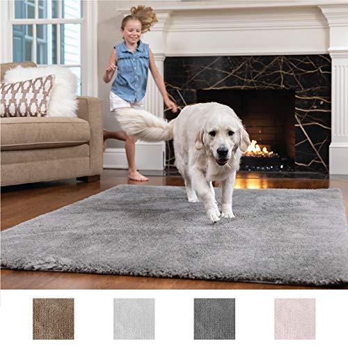 GORILLA GRIP Original Faux-Chinchilla Nursery Area Rug, (3 x 5) Super Soft & Cozy High Pile Machine Washable Carpet, Modern Rugs for Floor, Luxury Shag Carpets for Home, Bed/Living Room (Dark Gray)