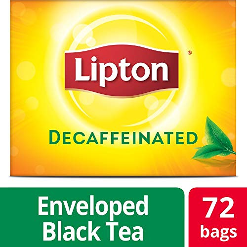 Lipton Decaffeinated Black Enveloped Hot Tea Bags Made with Tea Leaves Sourced from Rainforest Alliance Certified Farms, 72 count, Pack of 6 ()