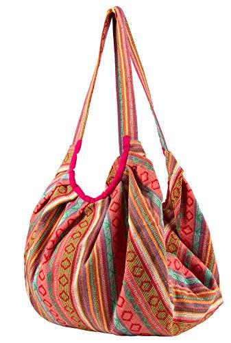 Pink Jacquard Cotton Baguette Shoulder Travel Canvas Tote Bag Hobo Style Casual Market Purse Handbag