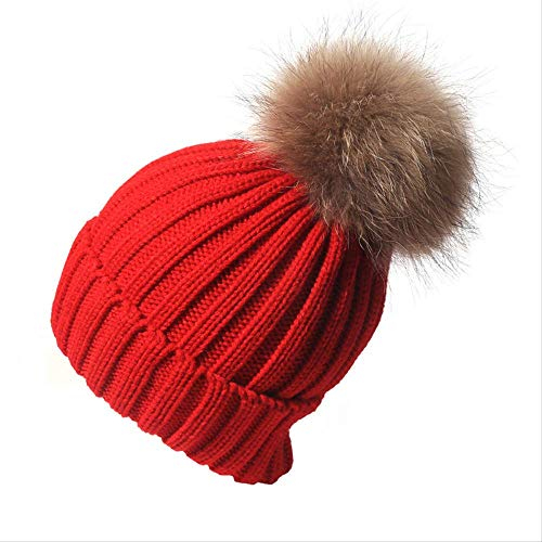 Knit Hat Knit Beanie Slouchy Beanie Hat Hat Autumn Winter Scorpion Hair Ball Wool Hat Leisure Versatile Knit Hat Red