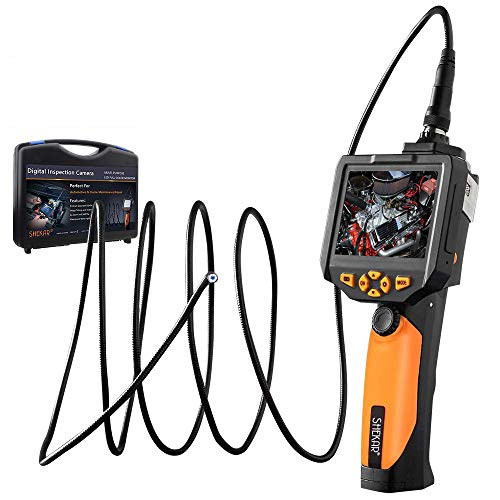 ([Upgraded Tool Box Added] Industrial Inspection Camera with 3.5 Inch LCD Color Screen Endoscope Borescope Waterproof Handheld Snake Camera with Semi-Rigid 9.84ft Cable)