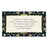 Black Filigree Gold Foil Business Cards - Set of 250 2'' x 3-1/2 custom business card design; 80# Cover Stock, Opaque, Matte