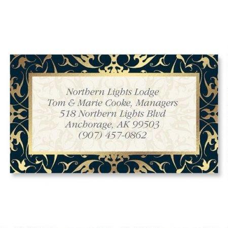 Black Filigree Gold Foil Business Cards - Set of 250 2'' x 3-1/2 custom business card design; 80# Cover Stock, Opaque, Matte