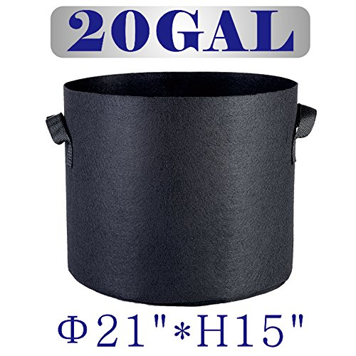 Hongruilite 1 2 3 7 10 15 20 25 30 Gallon 12-Pack Planting Grow Bags Black Fabric Grow Pots for Hydroponic Indoor Plant Growing (20 Gallon)