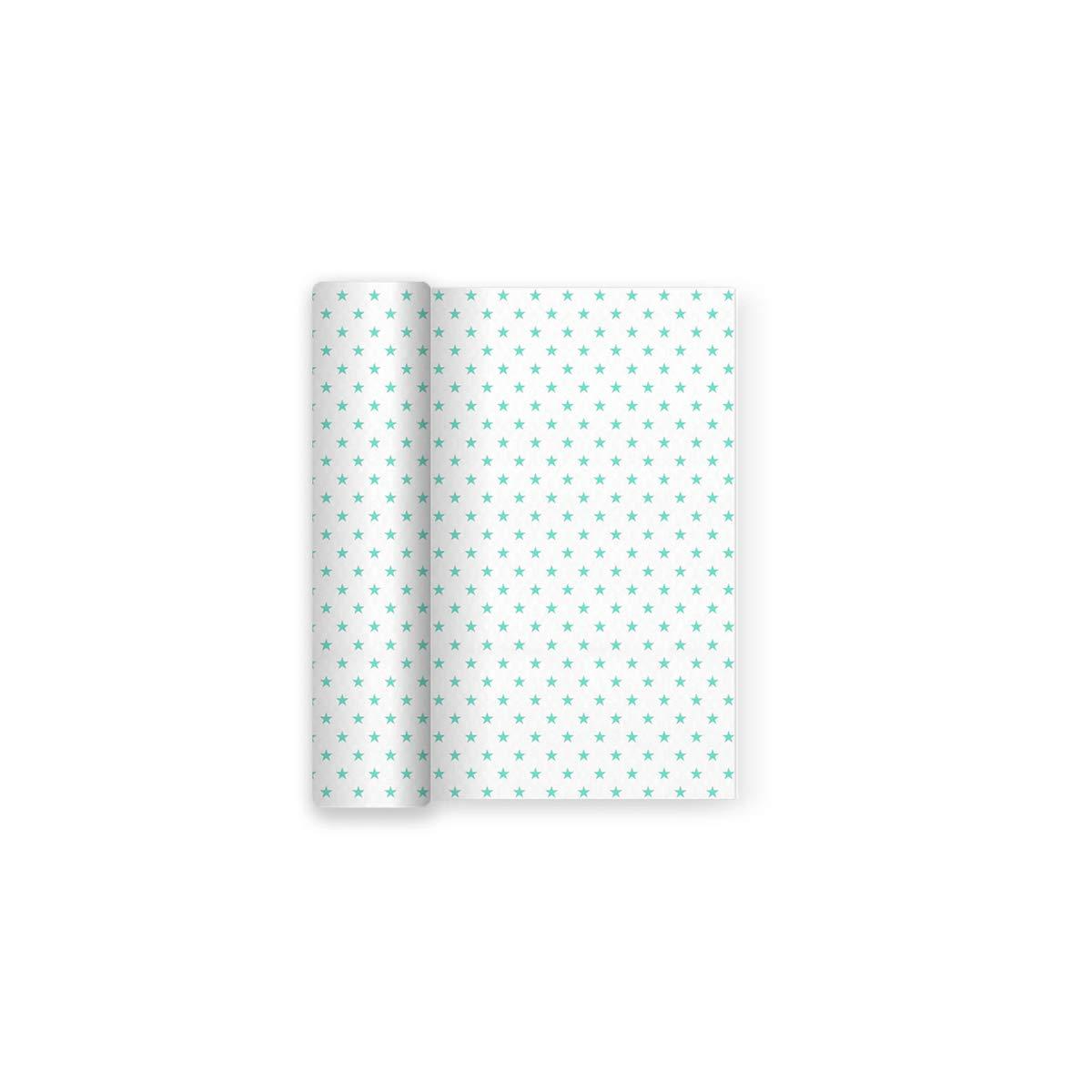 1,2 x 5 m Ideale per Feste per Bambini Maxi Products Tovaglia di Carta per Feste Bianche con Decorazioni a Stella Aquamarina comunioni o Battesimi Aqua docce per Bambini Compleanni