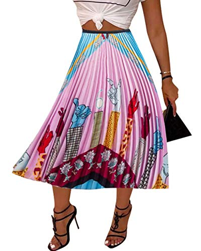 - Women's Graffiti Pleated Skirts Cartoon Hand Printed Elastic Waist Party A-Line Swing Midi Skirt Colorfull #6 2XL