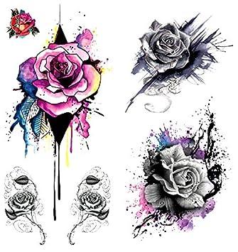 73489036c490e Amazon.com : Oottati 2018 Temporary Tattoos 3D Stickers 2 Sheets Rose  Purple : Beauty