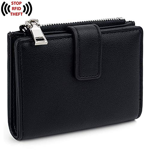 UTO Women's RFID Blocking PU Leather Wallet Card Holder Organizer Girls Small Cute Coin Purse with Snap Closure B Black