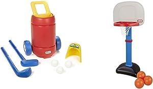 Little Tikes TotSports Easy Hit Golf Set + 3 Balls + 2 Clubs & Easy Score Basketball Set, Blue, 3 Balls - Amazon Exclusive
