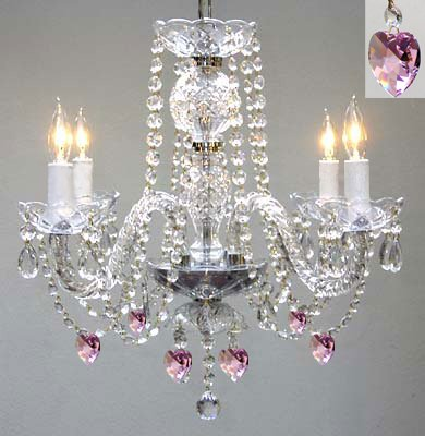 Chandelier Lighting w/ Crystal Pink Hearts! H 17″ W17″