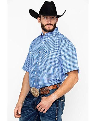 - Wrangler Men's George Strait Two-Pocket Short Sleeve Plaid Blue/Red Medium