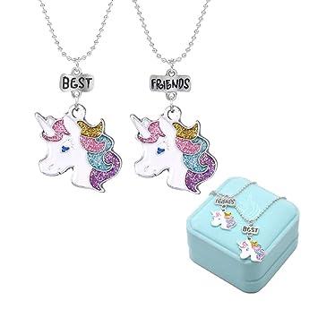3bafdc4dde0b Mejores Amigos Unicornio Colorido Amistad Collares para niños Joyas ...