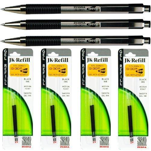 Zebra G301 Gel Pens with Refills, Black Gel Ink, 0.7mm Mediu